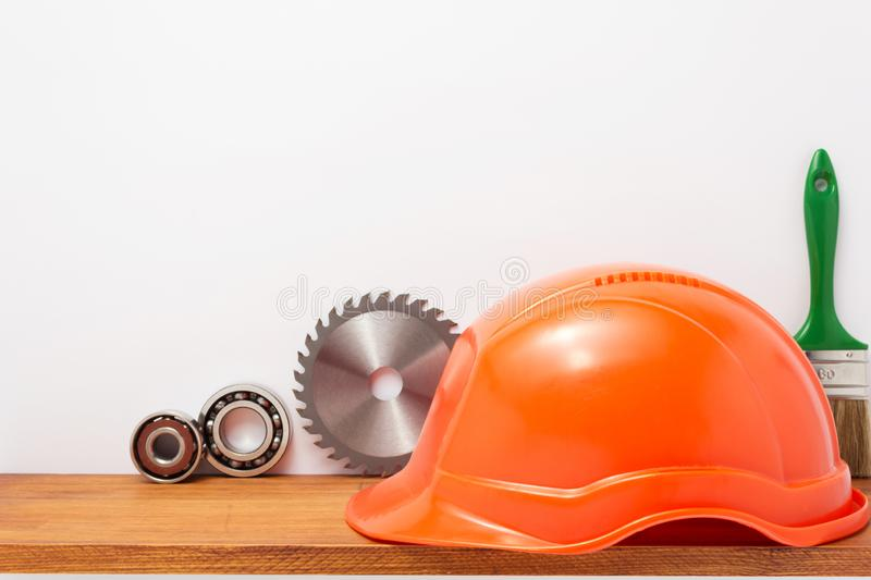 Set of  tools and instruments on shelf at white. Background stock image