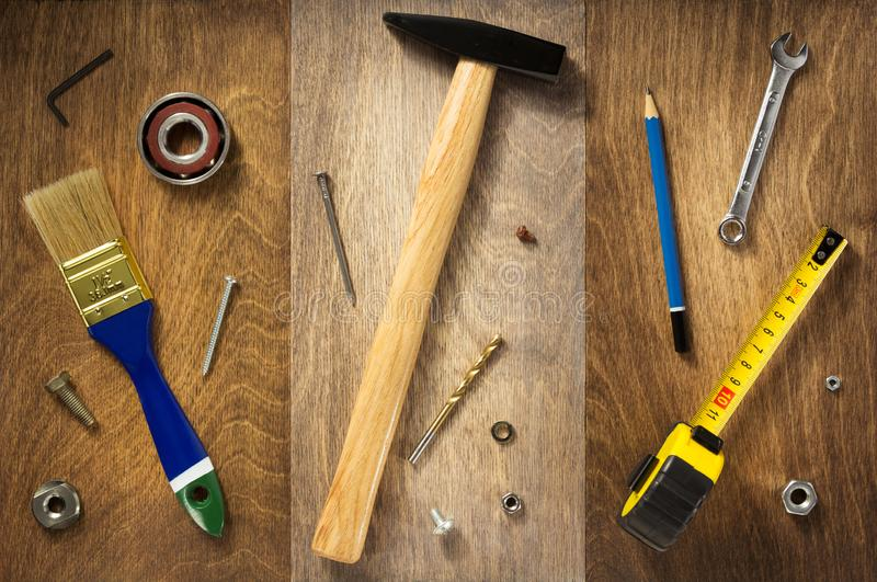 Set of  tools and instruments on wood. En background stock images
