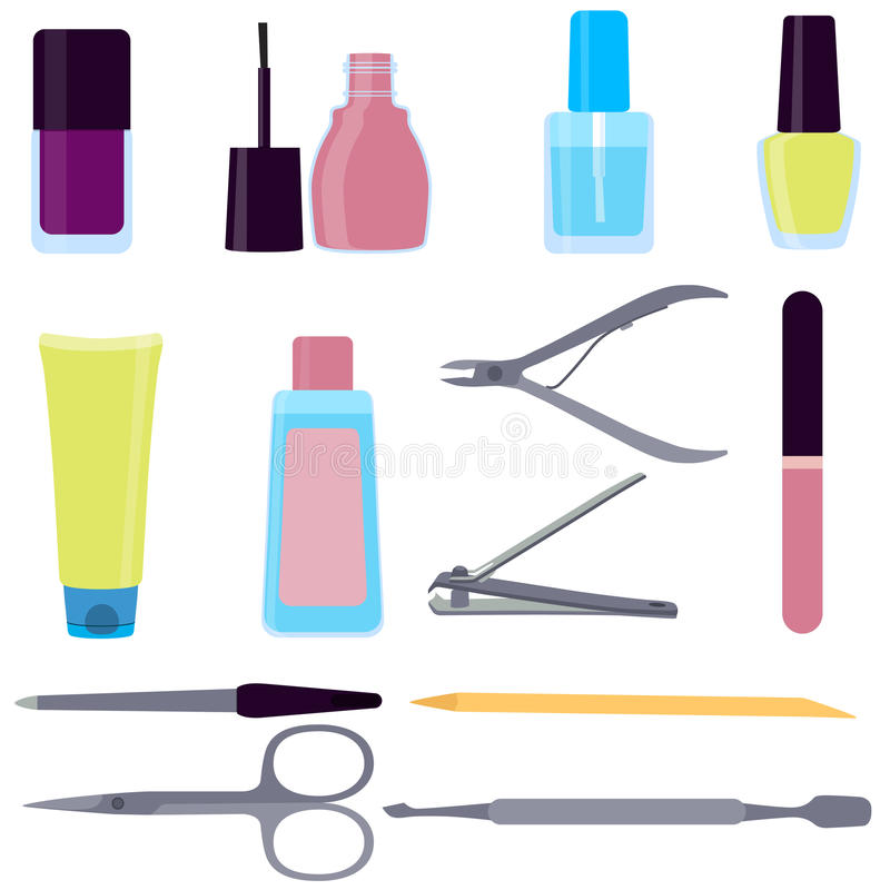 Set of tools for manicure stock illustration