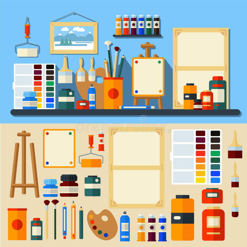 Set of Tools and Materials for Creativity vector illustration