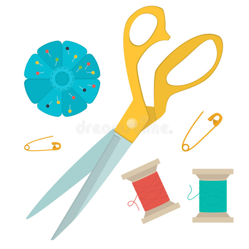Set of tools for sewing. stock illustration
