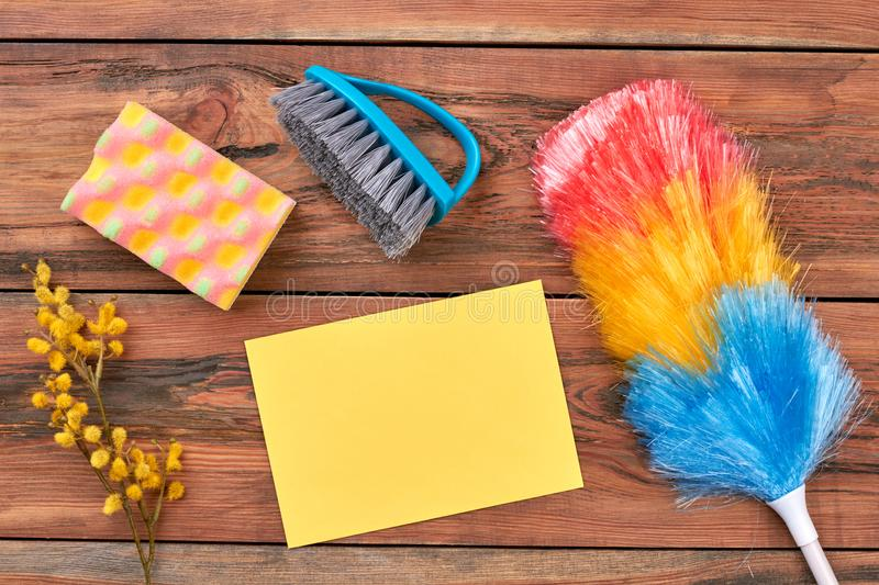 Set of tools for spring house cleaning. stock photos