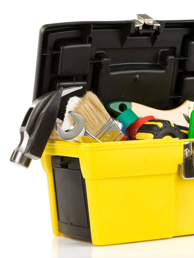 Set of tools in toolbox royalty free stock images