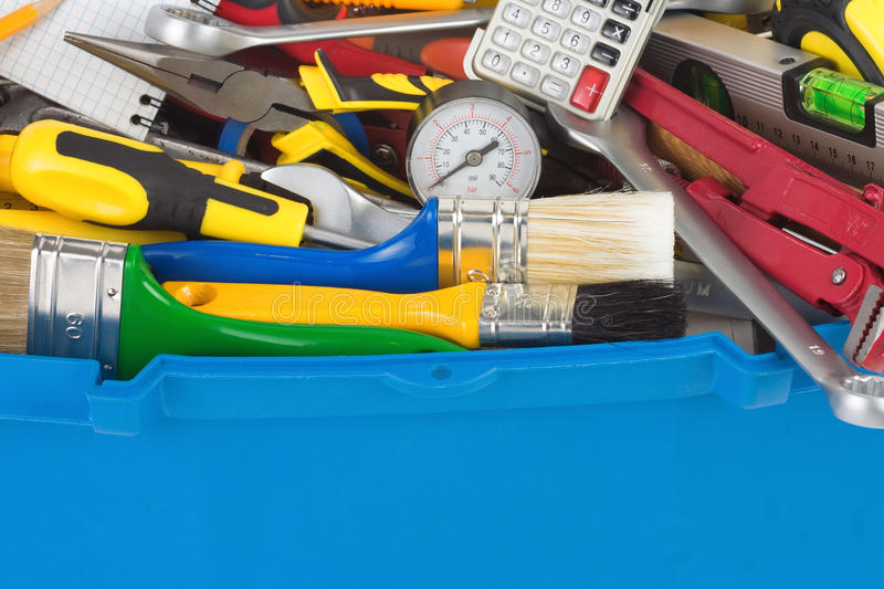 Set of tools in toolbox stock image