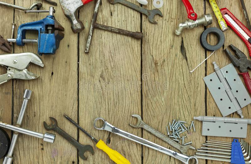 Set of tools on wooden background concept Father day and labor day background Copy space for your text stock photos