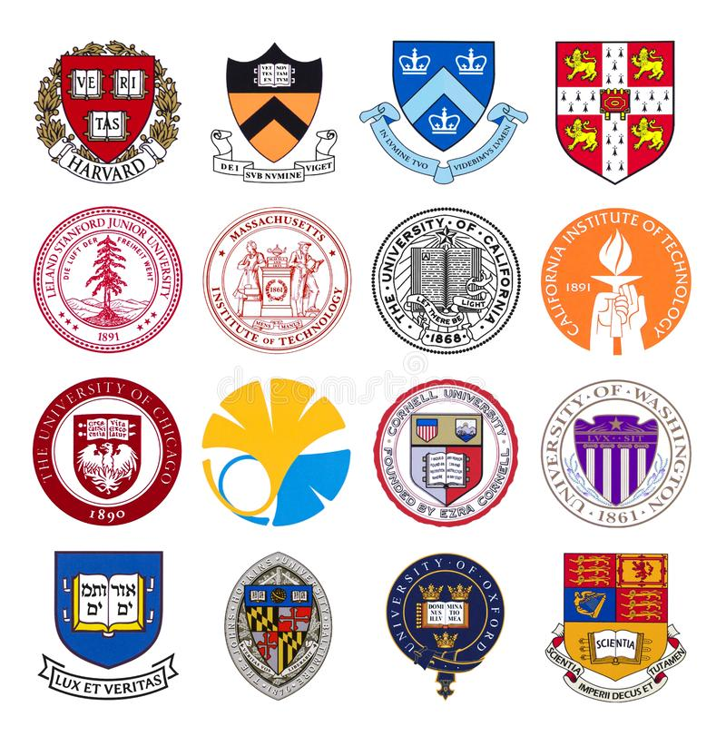 Set of top world universities and institutes logos royalty free stock photos