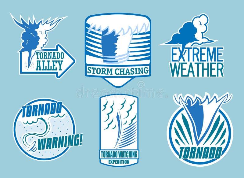 Set of tornado storm and weather emblems. Vector vector illustration