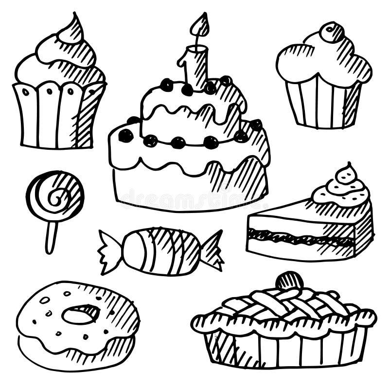 Set torty, babeczki, cukierki, doodle kreśli royalty ilustracja