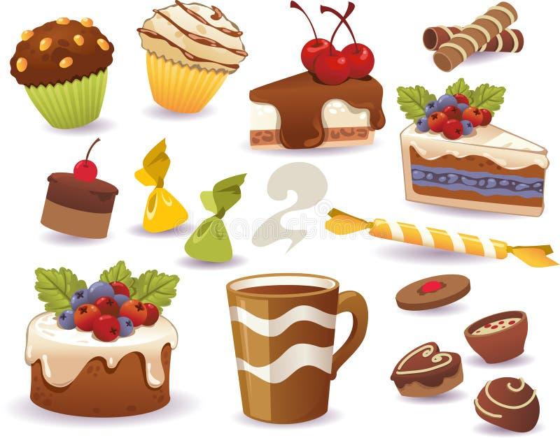 Set torty i inny słodki jedzenie, odizolowywający na białym tle ilustracji