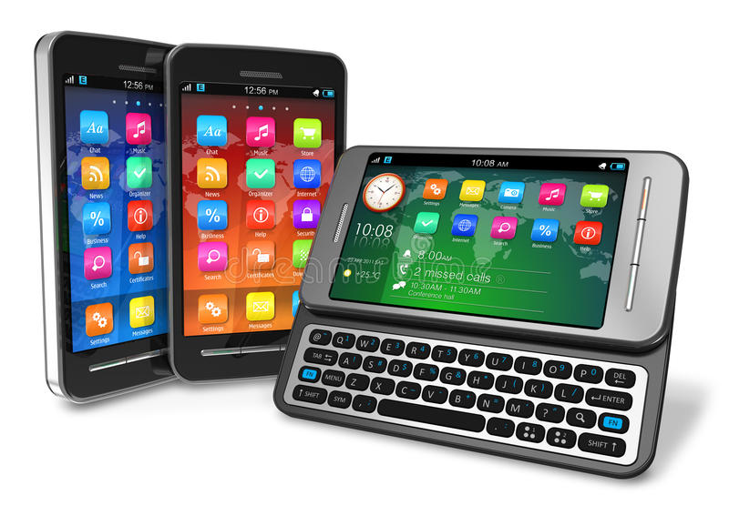 Set of touchscreen smartphones vector illustration