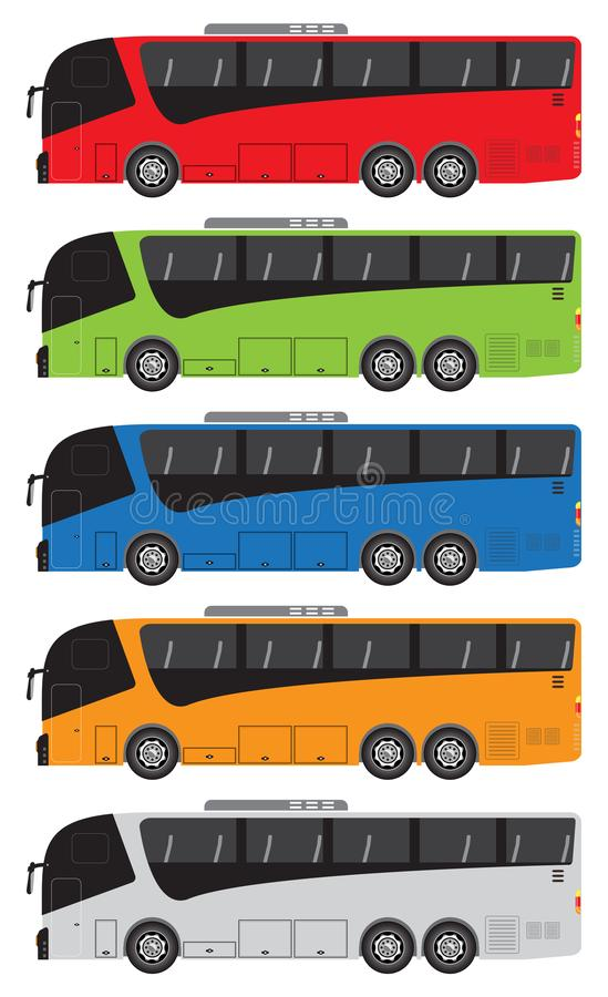 Set of Tour Bus or Intercity 12 Meter Bus Vector vector illustration
