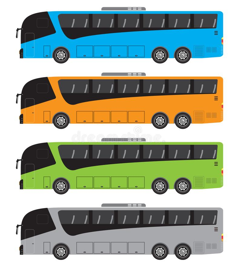 Set of Tour Bus or Intercity 15 Meter Bus Vector royalty free illustration