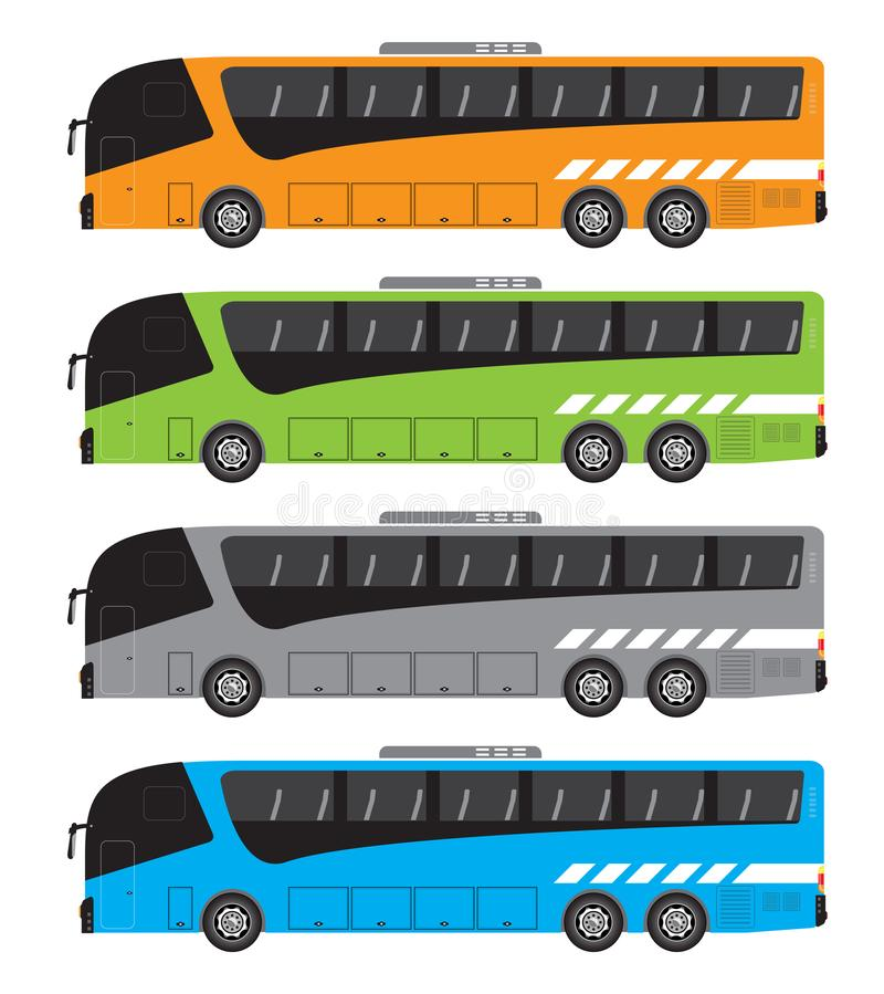 Set of Tour Bus or Intercity 15 Meter Bus Vector vector illustration