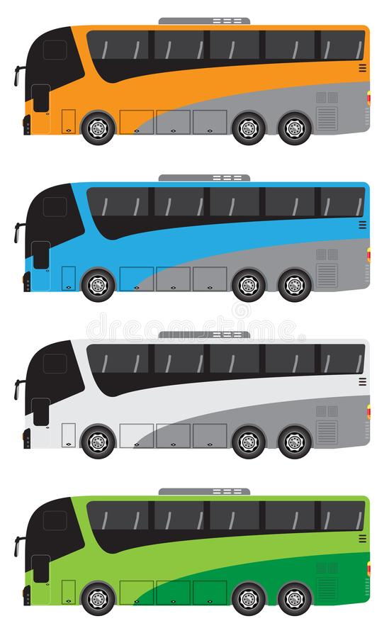 Set of Tour Bus or Intercity 12 Meter Bus Vector stock illustration