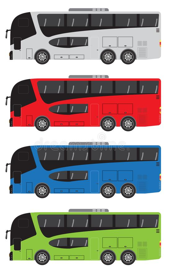 Set of Tour Bus or Intercity 12 Meter Bus Vector royalty free illustration