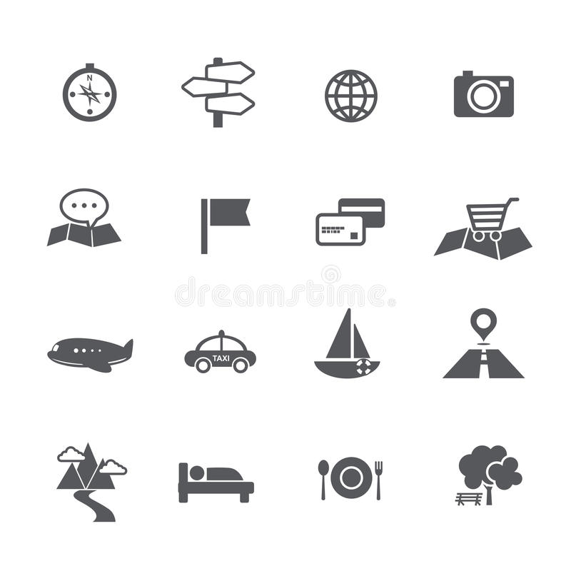 Set of tourism and travel map navigation icon vector illustration royalty free illustration