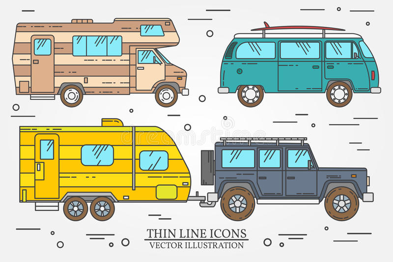 Set of Tourist bus, SUV, trailer, jeep, RV camper trailer, Traveler truck. Summer trip family travel concept. Thin line icon. vector illustration