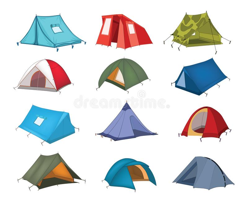 Illustration of a Tourist Tents. Set of tourist multi coloured tents stock illustration