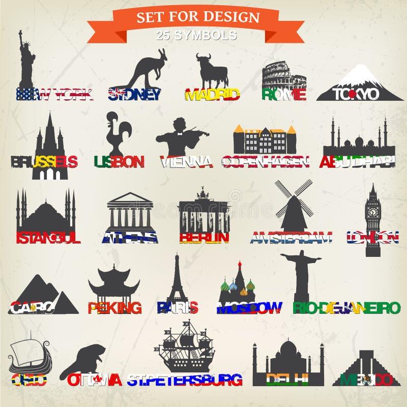 Set of tourist symbols. vector illustration. The most famous tourist place. Set of tourist symbols. vector illustration stock illustration