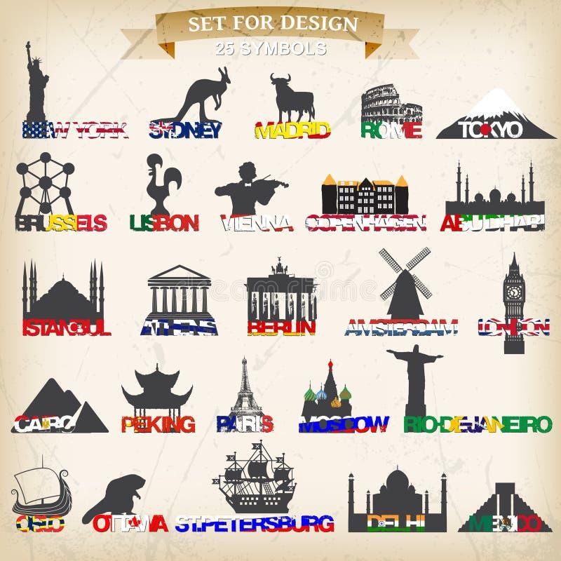 Set of tourist symbols.vector illustration. Symbol of european cities stock illustration