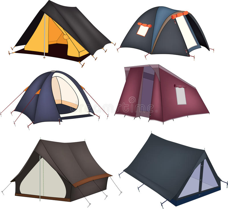 Set of tourist tents stock illustration
