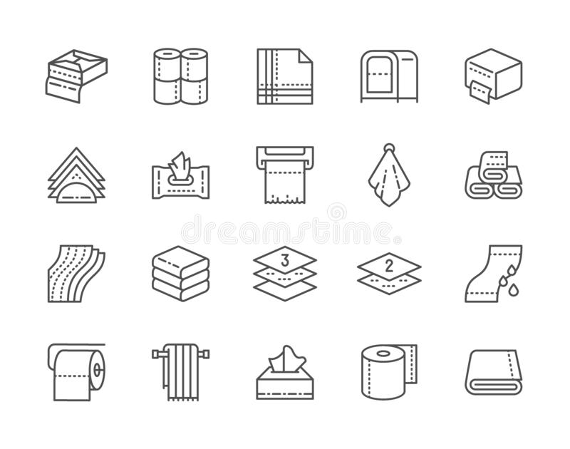 Set of Towels and Napkins Line Icons. Toilet Rolls, Holder, Hand Dryer and more. Set of Towels and Napkins Line Icons. Wet Wipes Package, Toilet Rolls, Napkin vector illustration