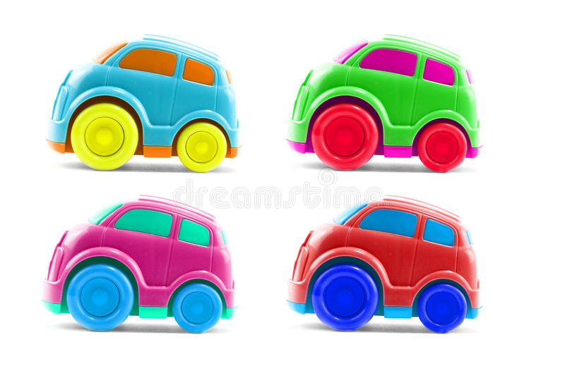 Set of toy cars. Set of 4 plastic childrens toy cars royalty free stock photos
