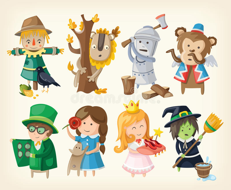 Set of toy personages from fairy tales. Set of cartoon toy personages from fairy tales stock illustration