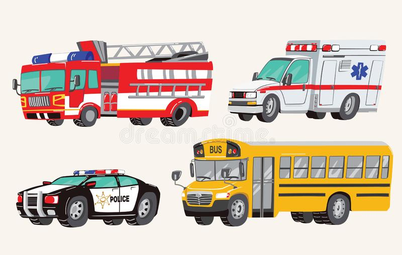 Set of Toy social Vehicles. Special Machines, police car, fire truck, ambulance, school bus, city bus. Toy Cars. Vector vector illustration