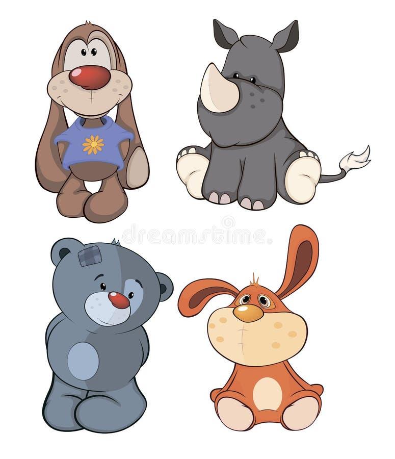 Set toys cartoon. Set of stuffed toys cartoon vector illustration