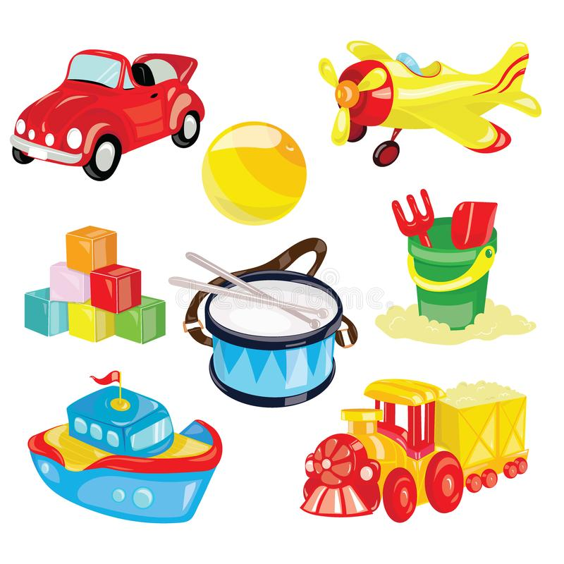 Set of toys for children. Illustration for children. Toy car. The ball. Cartoon drawing. Set of toys for children. Illustration for children. Toy car. Cartoon stock illustration