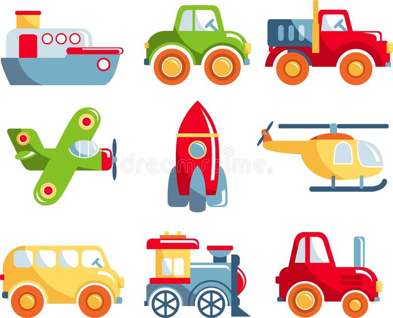 Art Toys For Boys : Set of toys transportation stock vector illustration