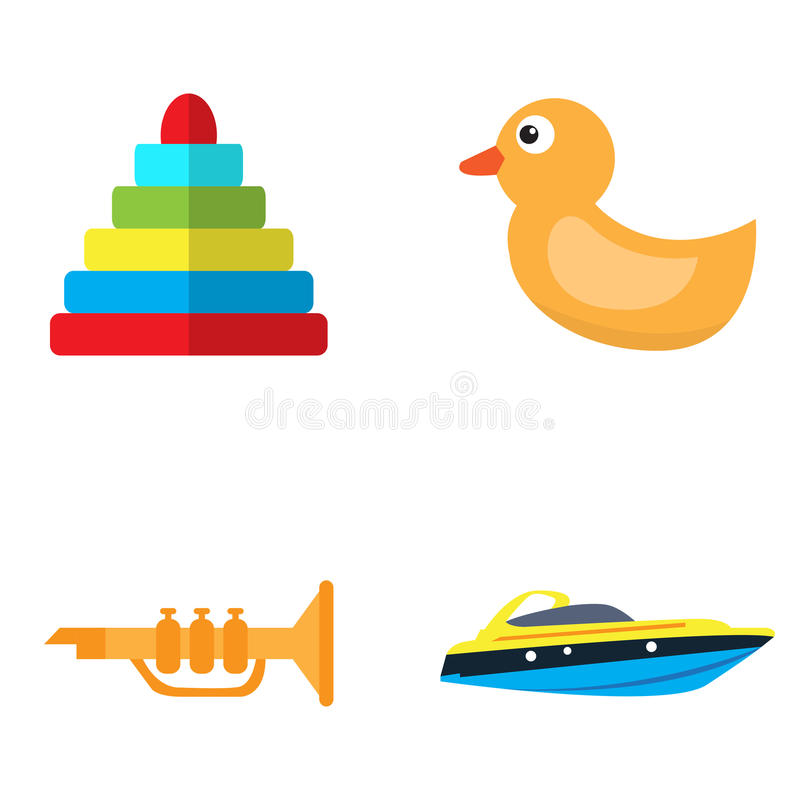Set of toys. On a white background, Vector illustration stock illustration