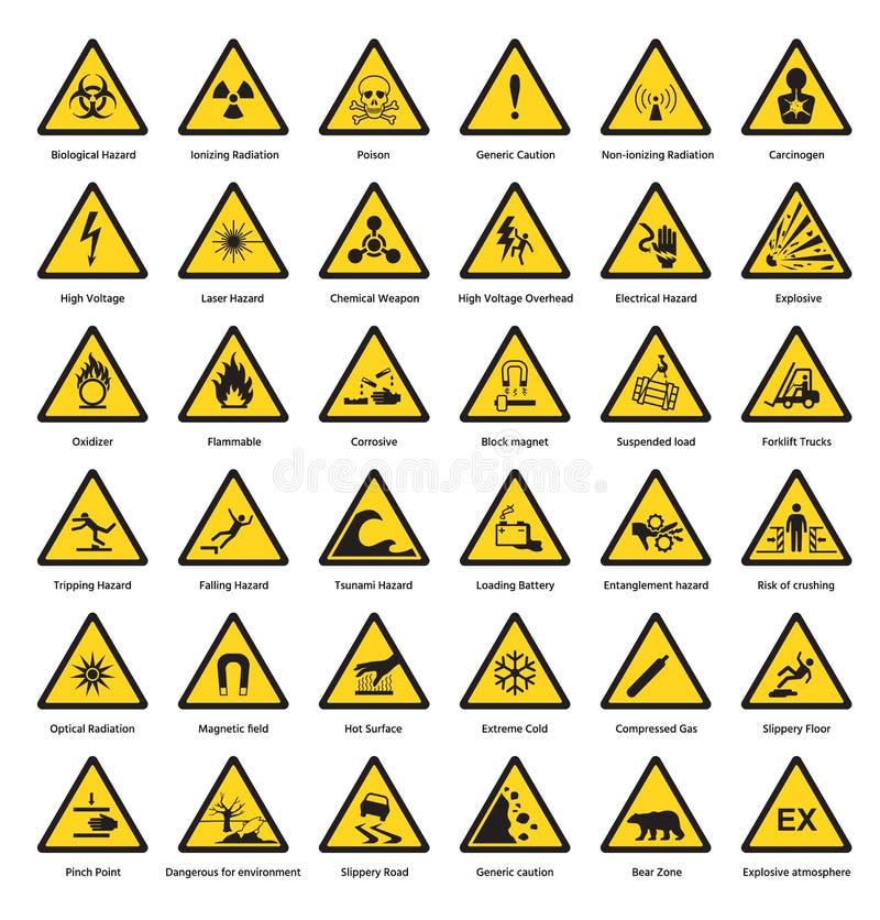 Set trójboka znaka ostrzegawczego zagrożenia dander uwagi żółtych symboli/lów ochrony napromieniania ostrożności chemiczna flamma ilustracja wektor