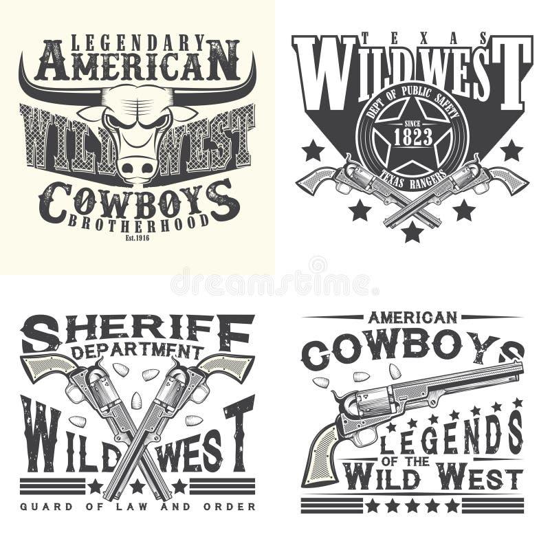 Set trójnika druku koszulowi projekty ilustracja wektor