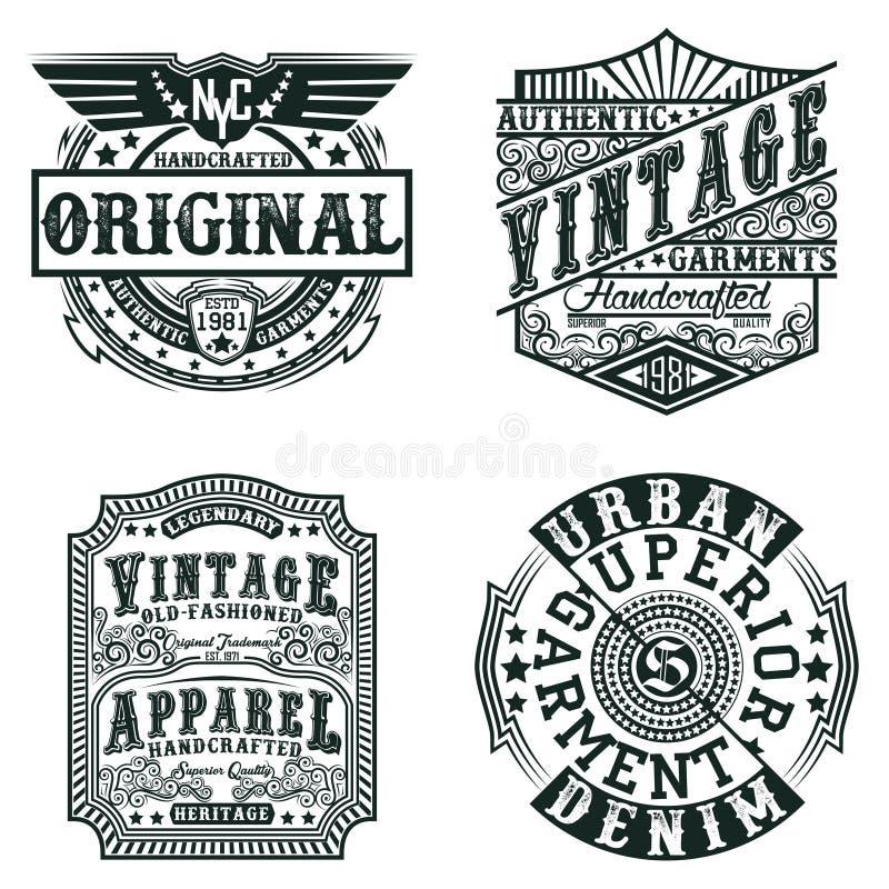Set trójnika druku koszulowi projekty ilustracji