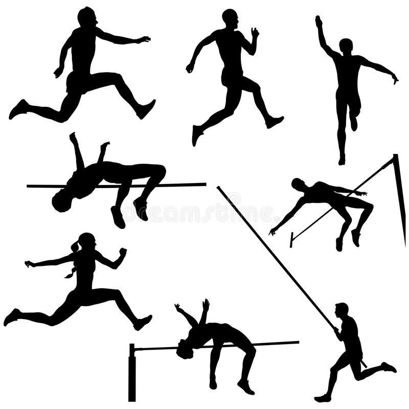 Set track and field sports jumping stock illustration