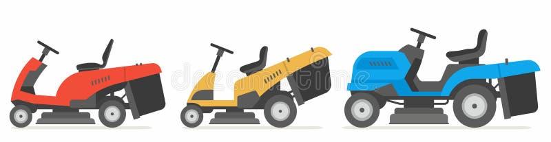 Set of tractor lawnmower. Vector illustration flat design royalty free illustration