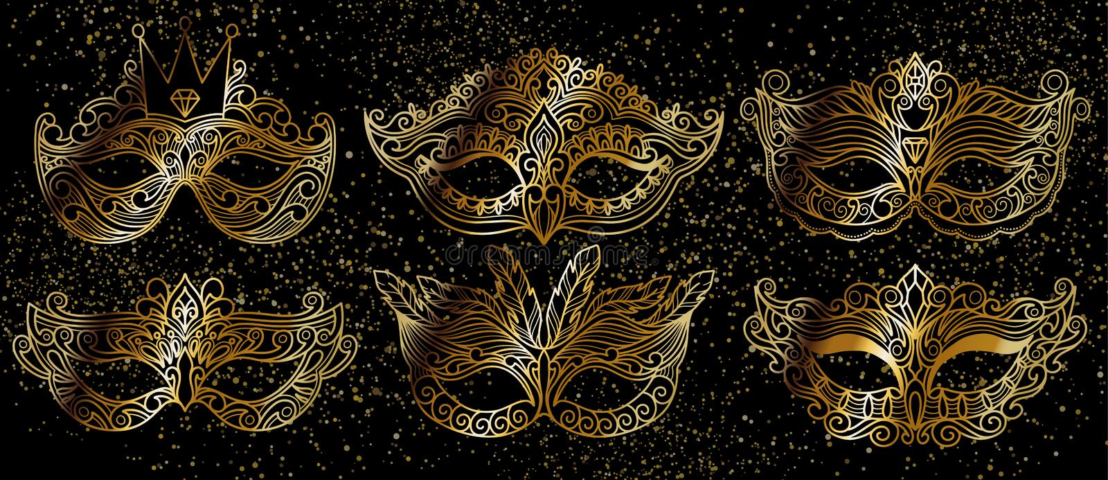 Set tradition with gold carnival mask accessory on black background for concept design.Decoration festive elegant party design. Beautiful vector illustration stock image