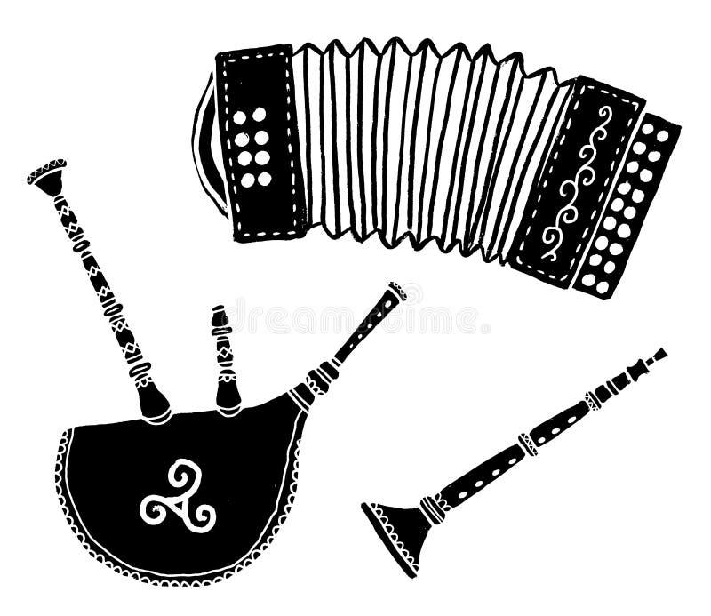 Set of traditional breton music instruments popular in France and Brittany: diatonic accordion, bineau koz - breton stock illustration