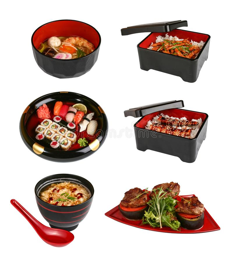 A set of traditional Japanese dishes. On a white background stock photo