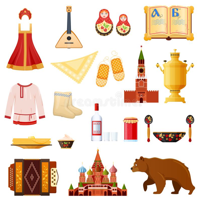 Set of traditional national objects russian culture, landmarks, symbols. Set of objects russian culture, landmarks and symbols. Traditional russian dress and stock illustration