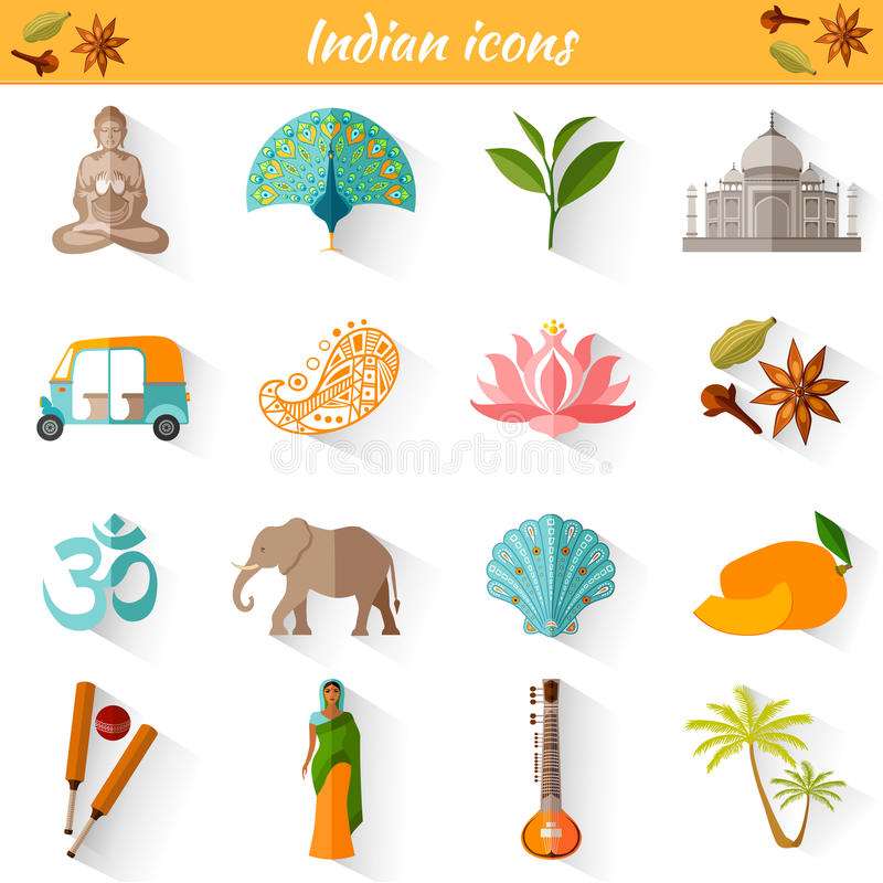 Set Of Traditional National Symbols Of India Stock Vector