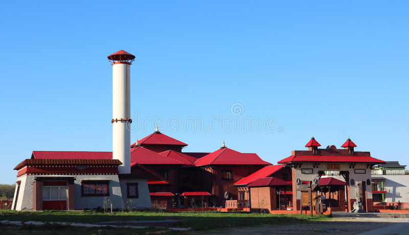Set of traditional Oriental buildings. Oriental buildings on a blue-sky background in a sunny day royalty free stock images