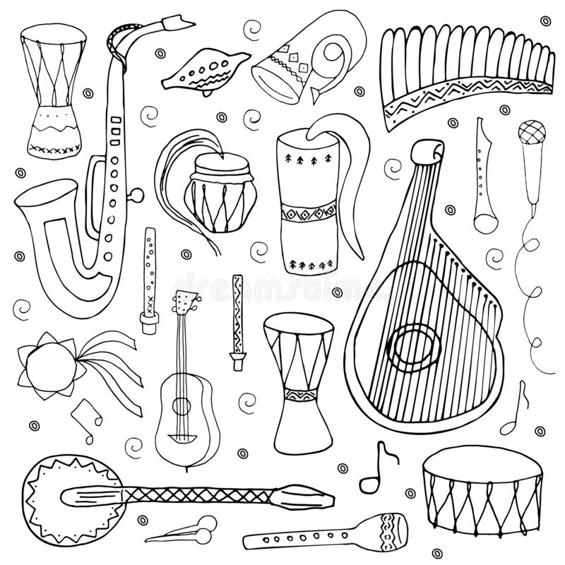 Set of traditional Slavic, Ukrainian musical instruments isolated on a white background. Coloring book. Hand drawn style. Set of hand drawn traditional Slavic royalty free illustration