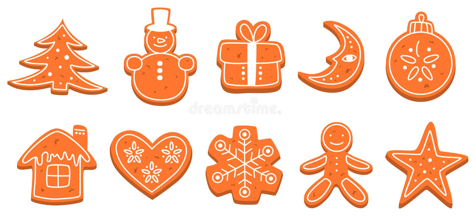 Set of traditional sweet baked christmas cookie. Gingerbread for celebration table. Delicious dessert. Isolated flat vector illustration royalty free illustration