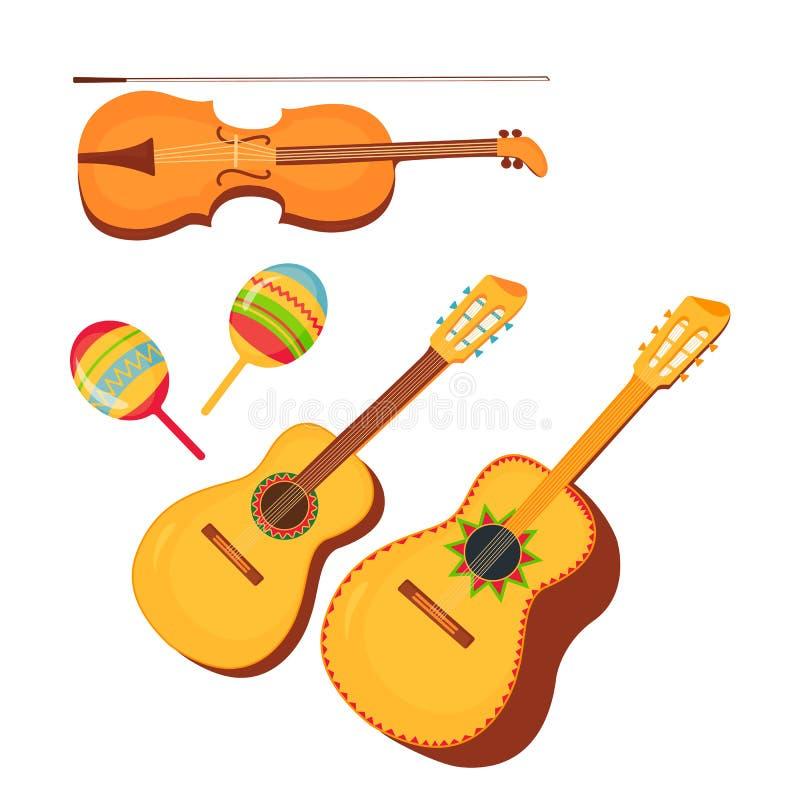 Set tradycyjna Meksykańska instrument muzyczny gitara, guitarron, skrzypce, marakasy cinco de Mayo 5th Maj ilustracja wektor