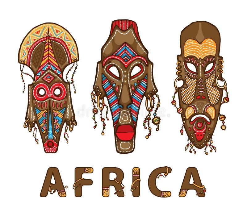 Set tradycyjne afrykańskie maski Dekoracyjny wpisowy Afryka fotografia stock