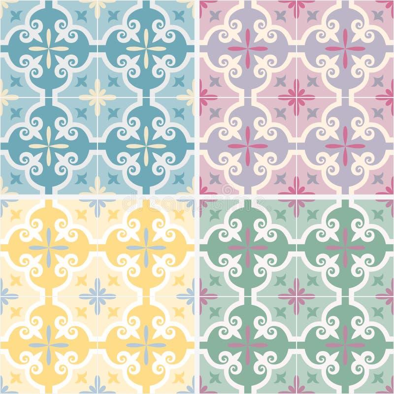 Set tradycyjni ozdobni portuguese i brazylijscy płytek azulejos również zwrócić corel ilustracji wektora 4 kolor różnicy ilustracji
