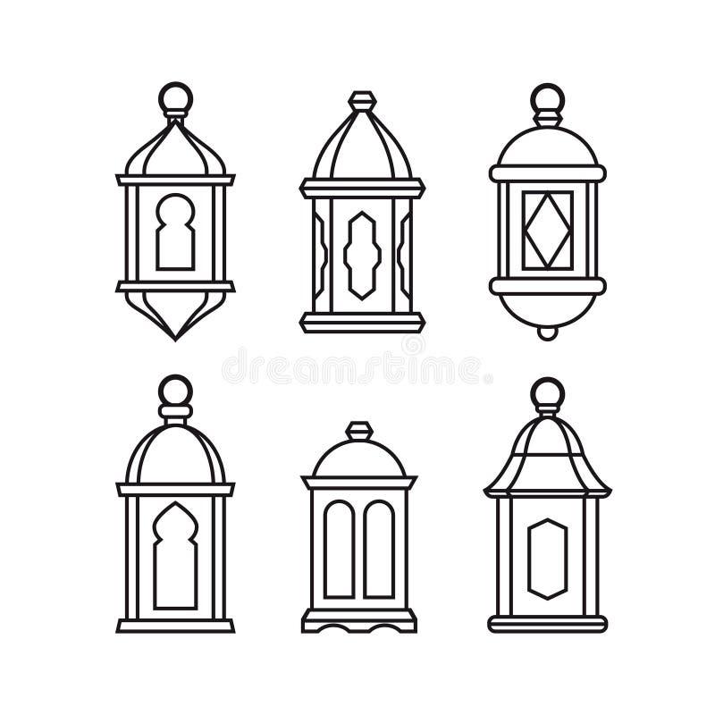 Set tradycyjni rocznika araba lampiony Odosobnione kreskowe ikony, nowożytny projekt Wektorowe ilustracje dla muzułmańskiego waka ilustracja wektor